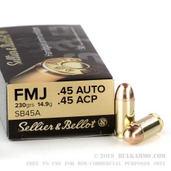 SELLIER & BELLOT .45 AUTO/ 45ACP FMJ 230gr